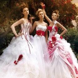 Красно-белые свадебные платья